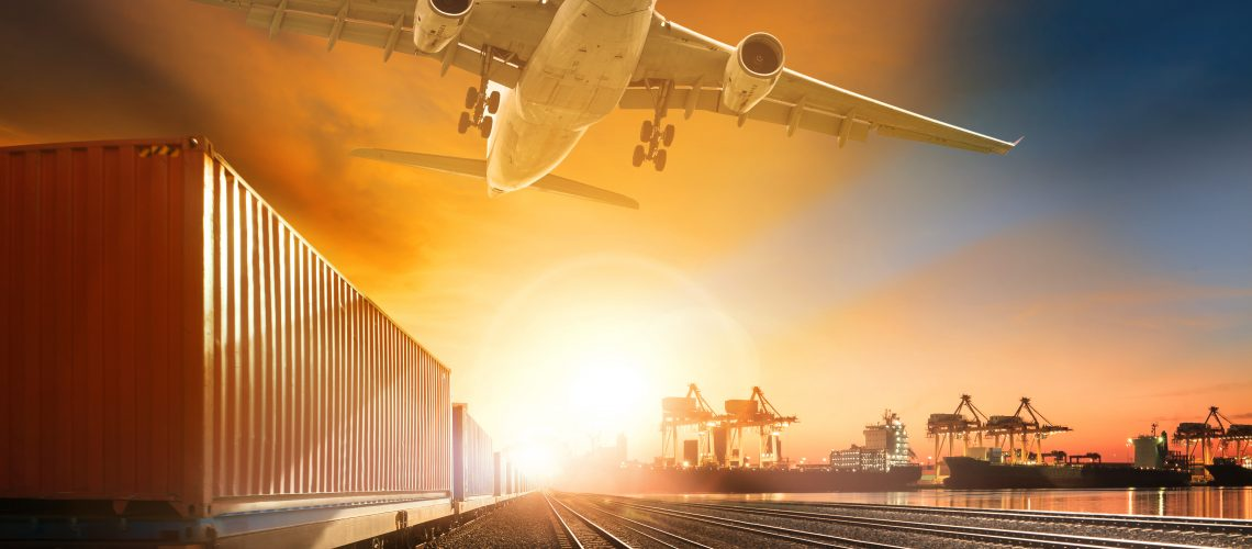 industry container trainst running on railways track plane cargo flying above and ship transport in import export container yard